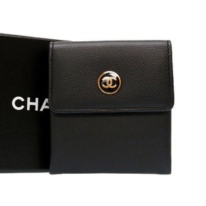 Chanel Coco Button Leather Black Coin Case Purse Wallet 0117 CHANEL