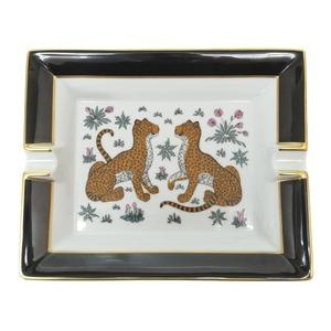 Hermes Ashtray Leopard Print Black White Pottery 0086 HERMES