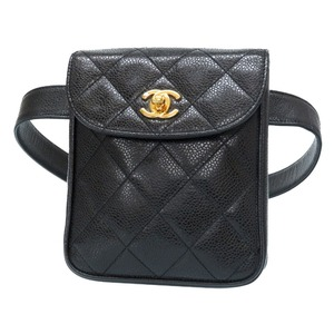 Chanel Caviar Skin Coco Mark Turn Lock Waist Pouch Bag Black Gold Hardware Vintage 0160 CHANEL