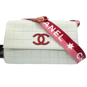 Chanel Sports Chocobar Shoulder bag Leather White Pink Red 0071 CHANEL