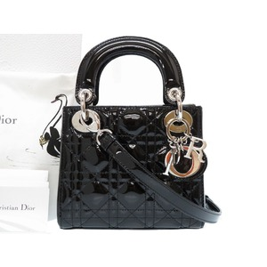 Dior Lady Dior Canage 2WAY Shoulder Handbag Patent Leather Black Silver Hardware 0225 with Strap