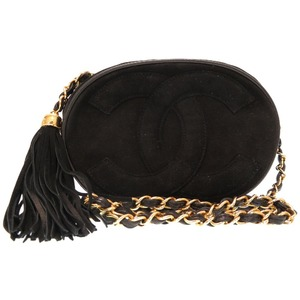 Chanel suede black gold chain oval coco mark shoulder bag 0205 CHANEL