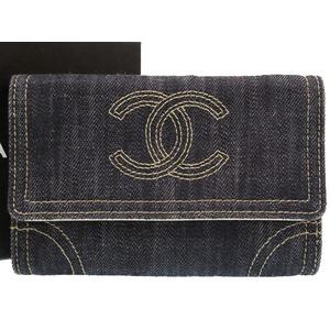 Chanel Sparkling Denim Navy 10 Series Coco Mark Long Purse Wallet 紺 0016 CHANEL
