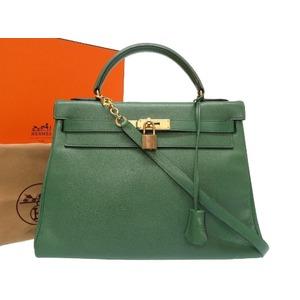 HERMES KELLY 32 KUSHBEL VELE Gold hardware ○ T stamped handbag bag green 0232