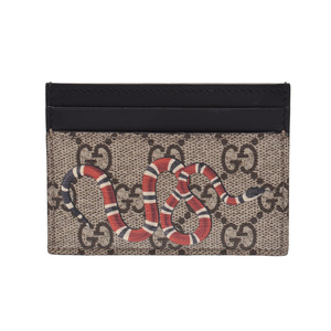 Gucci GG Supreme Card Case King's Snake Beige / Black Men's Ladies AB Rank GUCCI Box Used Ginzo
