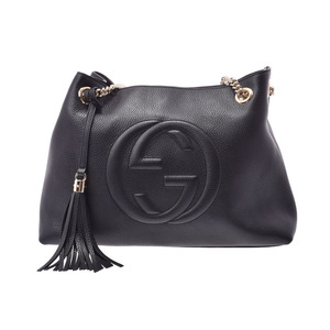 Gucci Soho interlocking chain shoulder bag with tassel black GP bracket Women's leather New duplicate beauty goods GUCCI