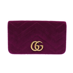 Gucci GG Marmont Chain Shoulder Bag Purple G Hardware Ladies Velvet AB Rank GUCCI Box Used Ginzo