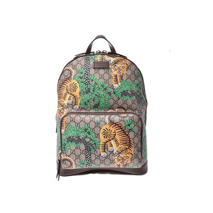 Gucci GG Supreme Backpack Bengal Beige Men's Women's PVC / Leather A Rank Beauty Product GUCCI Box Used Ginzo