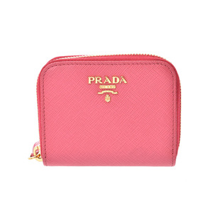 Prada Round zipper coin case Pink Ladies Safiano Coin Purses New Docome Product PRADA Box