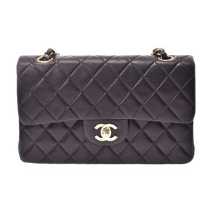 Chanel Matrasse Chain shoulder bag Double lid Black G hardware Women's lambskin AB rank CHANEL box Gala Used Ginzo