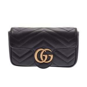 Gucci GG Marmont Super Mini Bag Black Women's Leather Shoulder New Docome Product GUCCI Box Used Ginzo