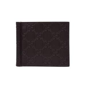 グッチ(Gucci) グッチ グッチシマ マネークリップ付 二つ折カードケース 茶 メンズ レザー 新同 美品 GUCCI 箱 中古 銀蔵