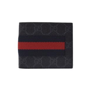 Gucci two-fold wallet GG pattern black Men's PVC unused beauty goods GUCCI box