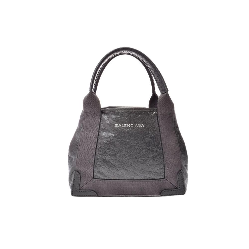 Balenciaga Navy Hippo XS Gray Ladies Leather / Canvas 2WAY Handbag AB Rank BALENCIAGA Used Ginzo