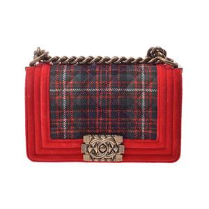 シャネル(Chanel) シャネル ボーイシャネル ミニチェーンショルダーバッグ 赤 レディース ベロア/キャンバス ABランク CHANEL 中古 銀蔵