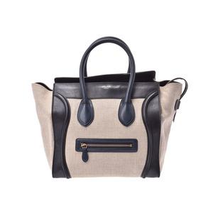 Celine Luggage Mini Shopper Beige / Black Ladies Hemp Leather Handbag B rank CELINE Used Ginzo