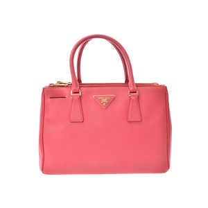 Prada 2WAY handbag Pink BN1801 Women's Safiano B rank PRADA Gala with strap Used Ginzo