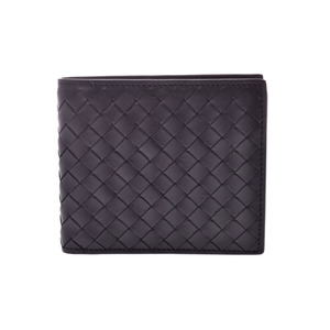 Bottega Veneta Two-folded wallet Intorechart Black Men's Ladies Calf AB Rank BOTTEGA VENETA Used Ginzo