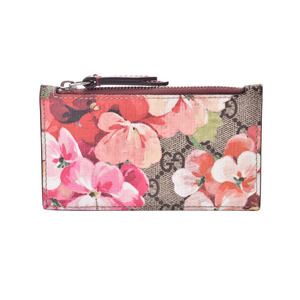 Gucci GG Blooms Fragment Case Pink Women's Calf Card with Coin AB Rank GUCCI Used Ginzo
