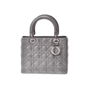 Dior Lady Silver Women's Lambskin 2WAY handbag B rank CHRISTIAN DIOR with strap Used Ginzo