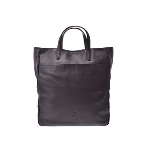 Loewe 2WAY tote bag dark brown based men's ladies' calf AB rank LOEWE with strap Used Ginzo