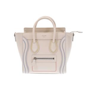 Celine Luggage Nano Shopper Ivory Color Stitch Ladies Leather 2WAY Handbag A rank CELINE With strap Used Ginzo