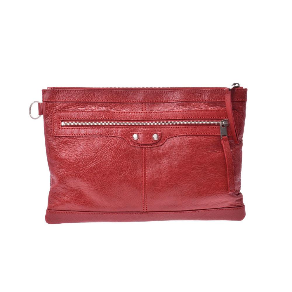 Balenciaga The Classic Clip Red Men's Ladies Calf Clutch Bag A rank BALENCIAGA Used Ginzo