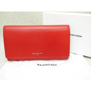 バレンシアガ(Balenciaga) BALENCIAGA レザー 三つ折り 長財布 レッド