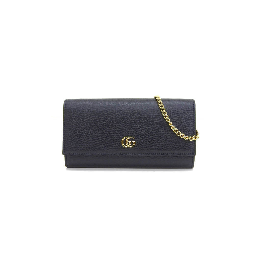 5add7dfe9b Genuine GUCCI Gucci GG Marmont Leather Chain Wallet Black Model: 546585 |  elady.com