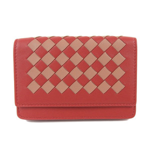 Bottega Veneta Intrecciato 13395 Leather Card Case Red