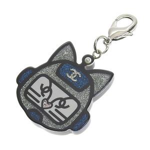 Genuine CHANEL Chanel Cats Robo Coco Mark Keychain Charm Silver Blue 17 S