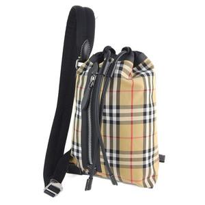 Genuine Burberry Plaid Drawstring Diagonal Shoulder Bag Brown Black Leather