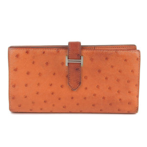 Genuine HERMES Hermes Ostrich Bear Long wallet orange □ M engraved