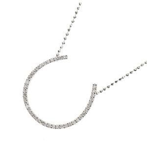 e1129d409 Genuine K18 Diamond 0.21ct Horseshoe Necklace 4.7g