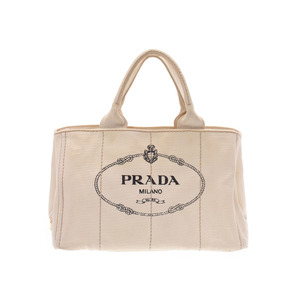 Prada Kanapa White Ladies Tote Bag Canvas B Rank PRADA Used Ginzo