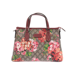 Gucci GG Supreme Bloom 2WAY Handbag Red System Flower Women's PVC Leather A Rank Beauty Product GUCCI with Strap Used Ginzo