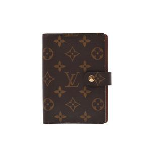 Louis Vuitton Monogram Agenda PM Brown R20005 Men's Ladies Genuine Leather Notebook Cover AB Rank LOUIS VUITTON Used Ginzo
