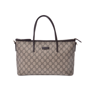 Gucci 2WAY tote bag gray system / dark brown Women's GG Supreme leather A rank beauty goods GUCCI with strap Used Ginzo