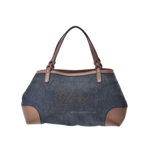 Gucci printed handbag blue / brown women's men's denim leather B rank GUCCI used Ginzo