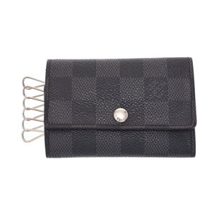 Louis Vuitton Graphite 6-piece key case black / gray N62662 Men's genuine leather B rank LOUIS VUITTON used Ginzo