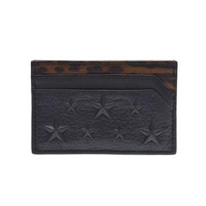 Jimmy Choo Card Case Black / Leopard Ladies Calf A Rank Beauty Product JIMMY CHOO Box Gala Used Ginzo