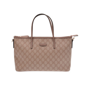 Gucci 2WAY handbag Pink Beige Women's GG Supreme Leather A rank good product GUCCI with strap Used Ginzo