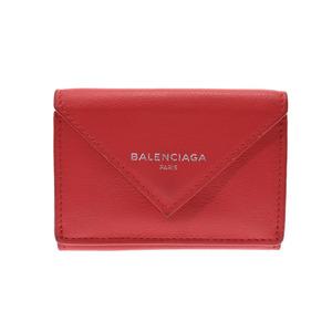 Balenciaga Paper Mini Wallet Red Ladies Calf AB Rank BALENCIAGA Box Used Ginzo