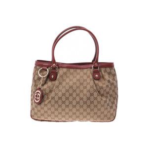 Gucci tote bag beige / reddish brown women's GG canvas leather B rank GUCCI used Ginzo