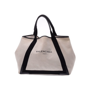 Balenciaga Navy Kabas M Ivory / Black Ladies Mens Canvas Leather Tote Bag C Rank BALENCIAGA With pouch Used Ginzo