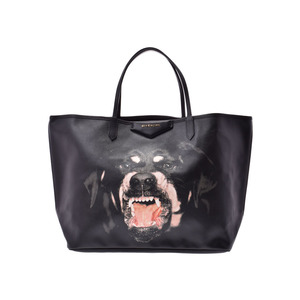 Givenchy Tote Bag Dog Black Men's Women's PVC A rank goods GIVENCHY with pouch Used Ginzo
