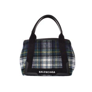 Balenciaga navy hippo green / plaid Ladies' men's wool handbag A rank beauty goods BALENCIAGA with a pouch used Ginzo