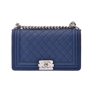 Chanel Boy Chain Shoulder Bag Blue SV Bracket Women's Soft Caviar Skin New Domomi Product CHANEL Used Ginzo