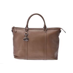 Gucci 2WAY tote bag Brown-based women's men's calf A rank good product GUCCI with strap Used Ginzo