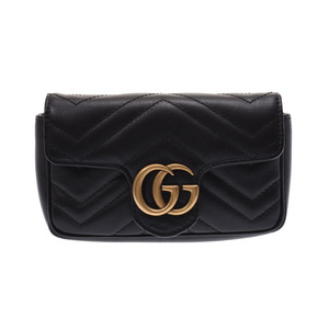 Gucci GG Marmont Super Mini Bag Black G Bracket Women's Leather Shoulder A rank Beauty Product GUCCI Box Used Ginzo
